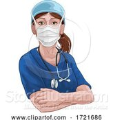 Illustration of Doctor or Nurse Lady in Medical Scrubs Unifrom by AtStockIllustration