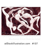 Illustration of Elegant Nude Dancers Performing by AtStockIllustration