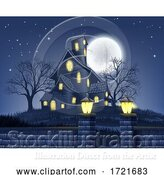 Illustration of Haunted House Halloween Background by AtStockIllustration