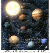 Illustration of Planets of Our Solar System in Outer Space, with Lines of Orbit by AtStockIllustration