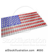 Illustration of Red, Blue and White People Forming an American Flag by AtStockIllustration