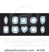 Vector Illustration of 10 Unique Diamonds with 10 Different Cuts by AtStockIllustration