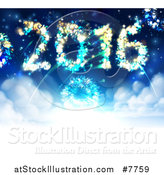 Vector Illustration of 2016 Shaped New Year Fireworks in the Sky by AtStockIllustration