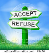 Vector Illustration of 3d Accept or Refuse Arrow Signs over Hills and a Sunrise by AtStockIllustration