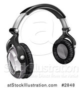 Vector Illustration of 3d Audio Headphones in Black and Silver by AtStockIllustration