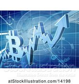 Vector Illustration of 3d Bitcoin Crypto Currency on a Blue Chart by AtStockIllustration