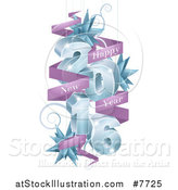 Vector Illustration of 3d Blue 2016 with Suspended Swirls, Stars and Purple Happy New Year Banners by AtStockIllustration