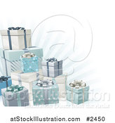 Vector Illustration of 3d Blue Silver and White Gift Boxes and Rays by AtStockIllustration