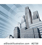Vector Illustration of 3d Blue Urban Office Skyskrapers with a Solar Panel Sky by AtStockIllustration