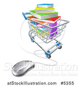 Vector Illustration of 3d Books Piled in a Shopping Cart Wired to a Computer Mouse by AtStockIllustration