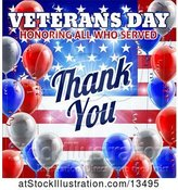 Vector Illustration of 3d Border of Patriotic Balloons over an American Themed Background with Veterans Day Honoring All Who Served Thank You Text by AtStockIllustration