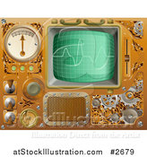 Vector Illustration of 3d Brass Victorian Steampunk Media Player Design Elements by AtStockIllustration