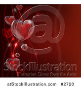 Vector Illustration of 3d Bubble Hearts and Waves on Red by AtStockIllustration