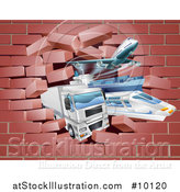 Vector Illustration of 3d Cargo Logistics Modes, Trains, Planes Big Rig Trucks, and Ships Breaking Through a Brick Wall by AtStockIllustration