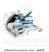 Vector Illustration of 3d Cargo Logistics Modes, Trains, Planes Big Rig Trucks, and Ships Breaking Through a Wall by AtStockIllustration