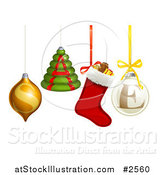 Vector Illustration of 3d Christmas Baubles and Ornaments Spelling SALE by AtStockIllustration