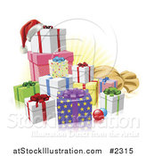 Vector Illustration of 3d Christmas Gifts with a Santa Hat Baubles and Sack by AtStockIllustration