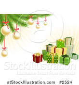 Vector Illustration of 3d Christmas Gifts with a Tree Gold Baubles and Rays by AtStockIllustration