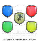 Vector Illustration of 3d Colorful and Shiny Shields One with a Lion by AtStockIllustration