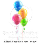 Vector Illustration of 3d Colorful Floating Party Balloons with Ribbons by AtStockIllustration