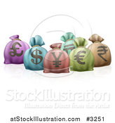 Vector Illustration of 3d Colorful Money Sacks with Currency Symbols by AtStockIllustration