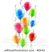 Vector Illustration of 3d Colorful Party Balloons and Confetti Ribbons by AtStockIllustration