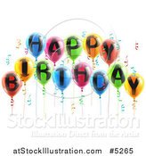 Vector Illustration of 3d Colorful Party Balloons and Confetti with Happy Birthday Text by AtStockIllustration