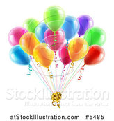 Vector Illustration of 3d Colorful Party Balloons with a Gift Bow by AtStockIllustration