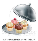Vector Illustration of 3d Cupcakes on a Platter Under a Cloche by AtStockIllustration