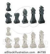 Vector Illustration of 3d Ebony and Ivory Chess Pieces by AtStockIllustration