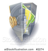Vector Illustration of 3d Files in a Safe Vault by AtStockIllustration