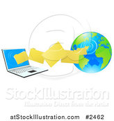 Vector Illustration of 3d Files Transfering from a Globe to a Laptop Computer by AtStockIllustration