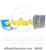 Vector Illustration of 3d Files Transferring to a Laptop to a Secure Safe by AtStockIllustration