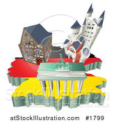 Vector Illustration of 3d German Tourist Attractions over a Flag Map of Germany by AtStockIllustration