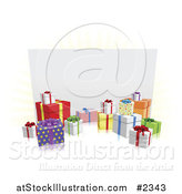 Vector Illustration of 3d Gift Boxes Around a White Billboard by AtStockIllustration