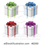Vector Illustration of 3d Gift Boxes with Colorful Bows and Ribbons by AtStockIllustration
