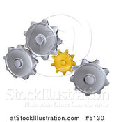Vector Illustration of 3d Gold and Silver Gear Cogs by AtStockIllustration