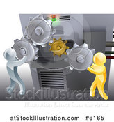 Vector Illustration of 3d Gold and Silver Men Adjusting Gear Cogs on a Machine by AtStockIllustration