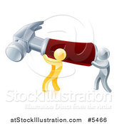 Vector Illustration of 3d Gold and Silver Men Carrying a Giant Hammer by AtStockIllustration