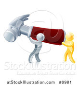 Vector Illustration of 3d Gold and Silver Men Carrying a Giant Red Handled Hammer by AtStockIllustration
