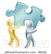 Vector Illustration of 3d Gold and Silver Men Carrying a Large Turquoise Solution Puzzle Piece by AtStockIllustration