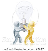 Vector Illustration of 3d Gold and Silver Men Carrying a Light Bulb by AtStockIllustration