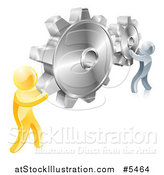 Vector Illustration of 3d Gold and Silver Men Connecting Two Giant Gear Cogs by AtStockIllustration