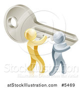 Vector Illustration of 3d Gold and Silver Men Holding up a Giant Key by AtStockIllustration