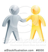 Vector Illustration of 3d Gold and Silver Men Shaking Hands by AtStockIllustration