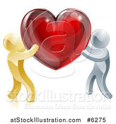Vector Illustration of 3d Gold and Silver People Carrying a Red Heart by AtStockIllustration