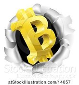 Vector Illustration of 3d Gold Bitcoin Currency Symbol Breaking Through a Hole in a Wall by AtStockIllustration