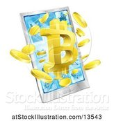 Vector Illustration of 3d Gold Bitcoin Currency Symbol Bursting from a Cell Phone Screen by AtStockIllustration
