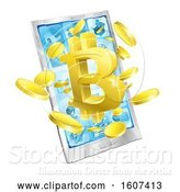 Vector Illustration of 3d Gold Bitcoin Currency Symbol Bursting from a Smart Phone Screen by AtStockIllustration