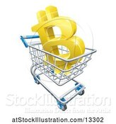 Vector Illustration of 3d Gold Bitcoin Currency Symbol in a Shopping Cart by AtStockIllustration